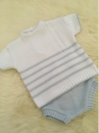 spanish style baby boys knitted top and jam pants blue white