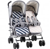 sam faiers mb22 double twin stroller grey melange reversible liners