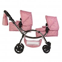 roma darcie double twin dolls pram pink floral