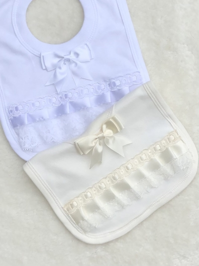 babies white cream fancy ribbon lace bib
