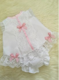 traditional angel dress in white pink detail pants