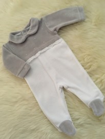 velour white and grey all in one romper diamantes and lace detailing
