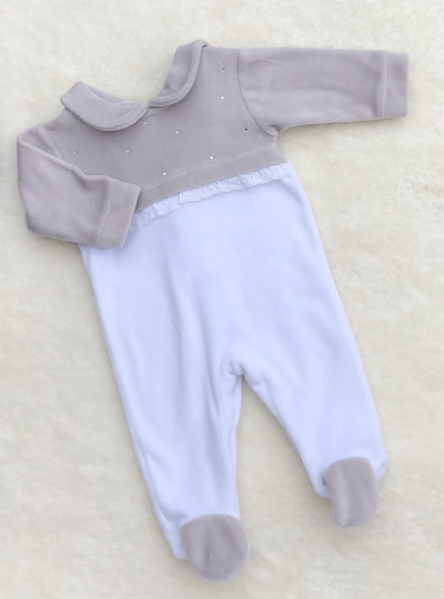 unisex grey white velour romper