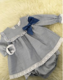 spanish baby girls blue linen dress with frilly pants
