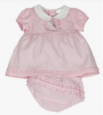 traditional style baby girls smocked pink white checked dress with pants