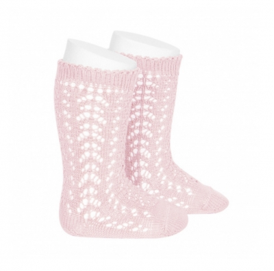 comdour openwork knee socks girls pink