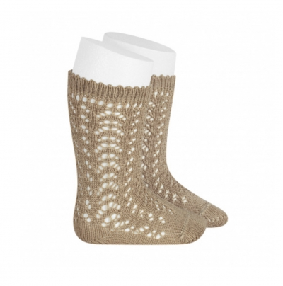 condour 100% cotton openwork rope knee high socks