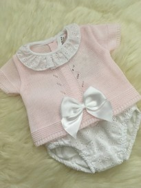 spanish style pink knitted top with bow borderie pants