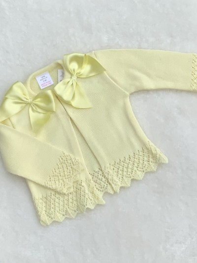 baby girls lemon knitted cardigan with bows