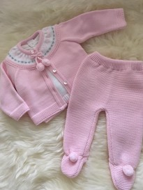 spanish style knitted 3 piece set pink white