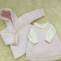 spanish style quilted dress jacket coat pink