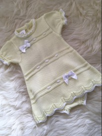spanish style knitted dress with pants lemon white