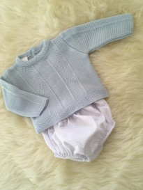 spanish boys jumper and jam pants blue white