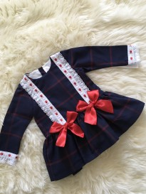 spanish baby girls navy red checked bow dress