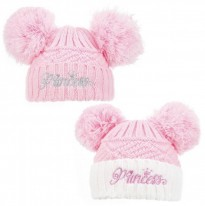 baby girls pink white princess knitted hat