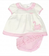 baby girls white pink dress with frilly pants swan motif