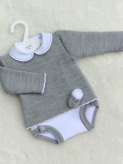 grey  knitted jumper pom poms jam pants