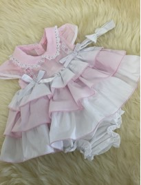 spanish style baby girls pink white layered dress with pnats