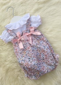 spanish baby girls all in one floral print romper and blouse