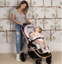 my babiie mb400 pushchair in rose gold pink grey clouds