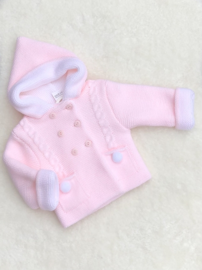 baby girls knitted coat jacket pink white pom poms
