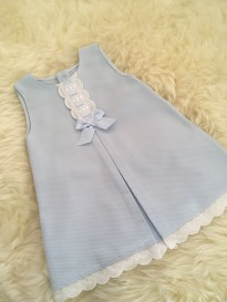 spanish girls a-line dress in baby blue white