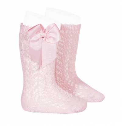 comdour 100% cotton openwork knee high socks  pink