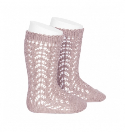 comdour openwork knee high cotton socks  pale pink