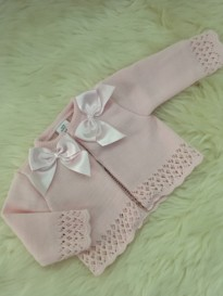 spanish stylr knitted baby girls pink cardigan bows