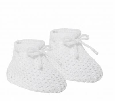 babies unisex knitted bootees white