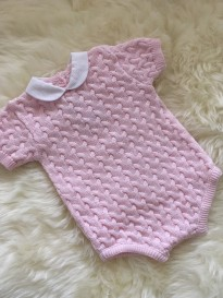 spanish girls cable knit romper in pink white