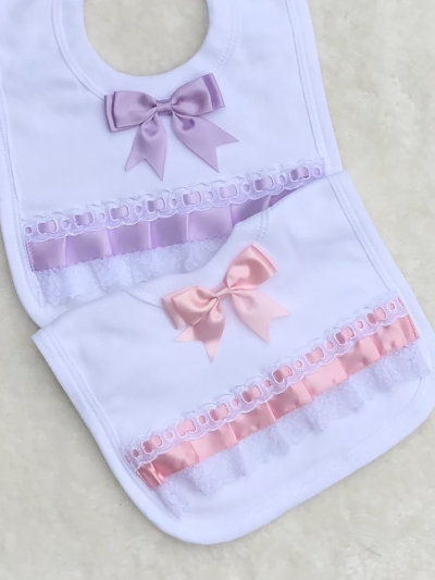 baby girls pink lilac bib ribbon lace