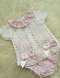 spanish style baby girls pink white jumper check jam pants