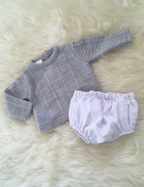spanish boys jumper jam pants in grey white