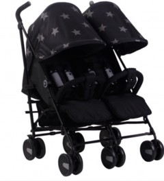 my babiie billie faiers mb22 black stars twin stroller buggy