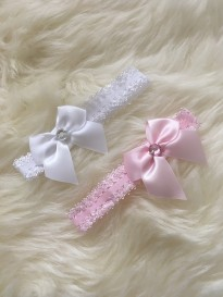 baby girls 2 pack pink white bow diamante headband