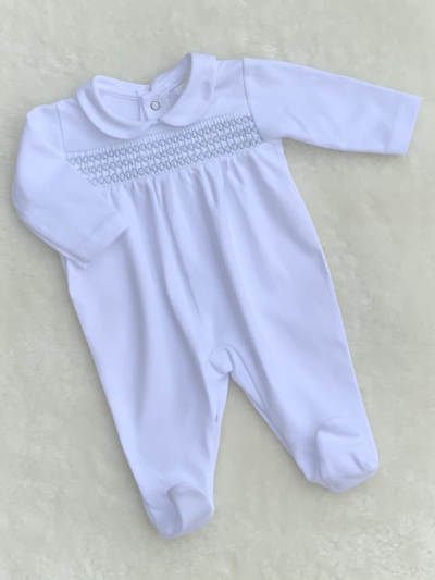 baby boys smocked cotton romper white blue