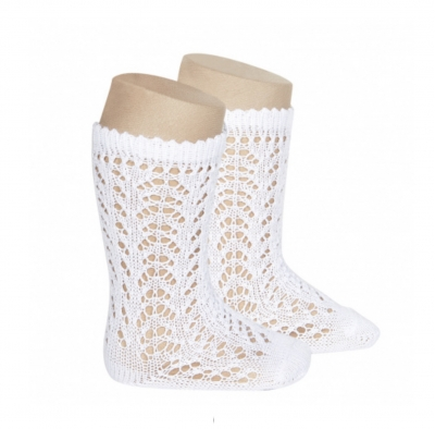 condour 100% openwork knee high sock white