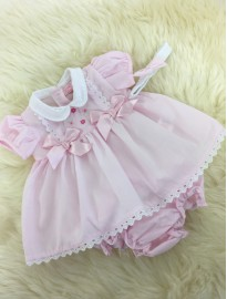 pink girls summer dress with bows matching pants and headband