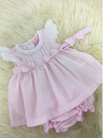 baby girls soft cotton summer dress pants and headband in pink