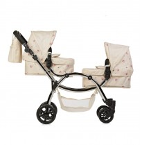 roma darcie twin dolls pram in cream floral 3+years