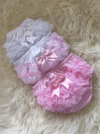 traditional baby girls  frilly pants pink white x 3