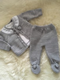 spanish style knitted 3 piece set grey white