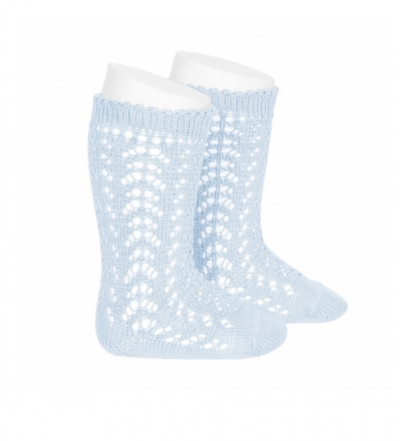 condour unisex knee high openwork socks  baby blue