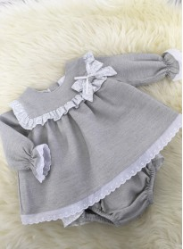 spanish style baby girls beige linen dress with matching pants
