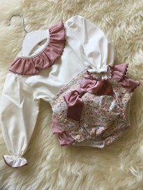 spanish style baby girls floral jam pants and blouse