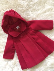 baby girls christmas red knee length coat/jacket