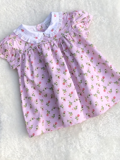 baby girls ditsy embroided floral print dress