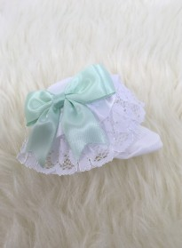 ribbon and lace baby girls socks with bows white mint green