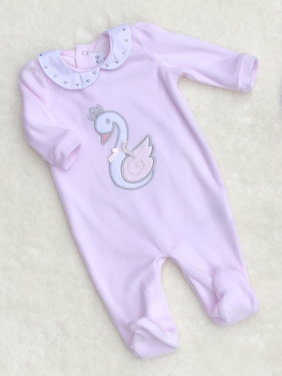 baby girls soft velour all in one swan motif